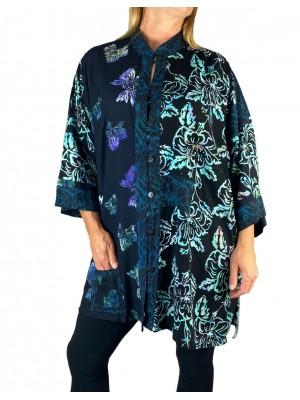 Blue Butterfly-Paradise Flower Combo Orinda Blouse