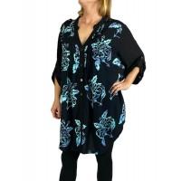 Women's Plus Size Blouse - Peony Blue Katherine