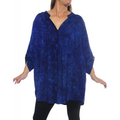 Women's Plus Size Blouse - Prism Blue Katherine