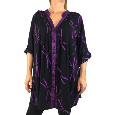 Women's Plus Size Blouse -Purple Dragonfly Combo Katherine