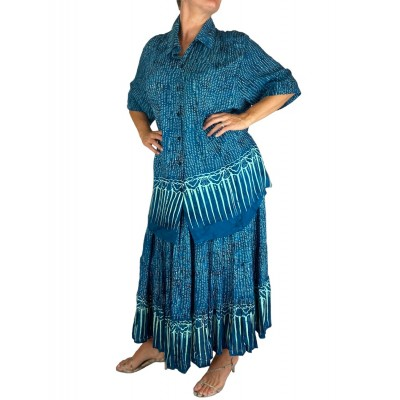 Batik Lighter-Weighted-Gauzy-Sea-Breeze-Tunic-Tiered-Skirt-Set