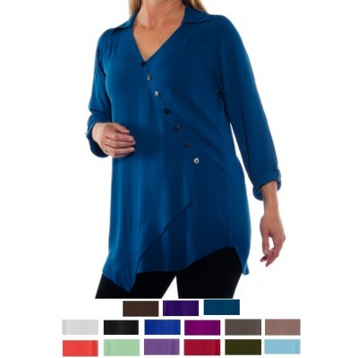 Solid CRINKLE RAYON or FLAT RAYON Soho Blouse Large-6X