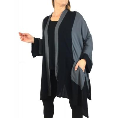 Solid Crinkle Rayon Combo Broadway Jacket