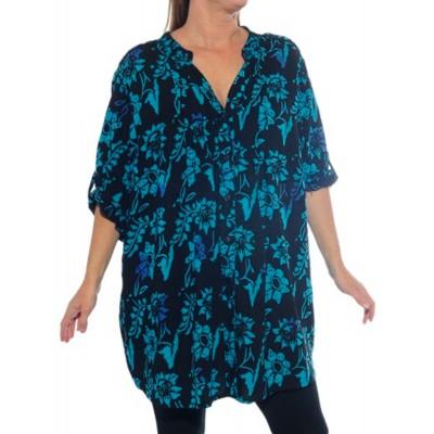 Women's Plus Size Blouse - Starry Flower Blue Katherine