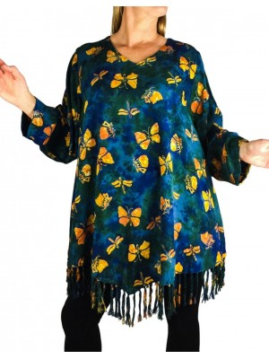 Swallow Tail Santa Fe Fringe Swing Top Long or 3/4 Sleeve