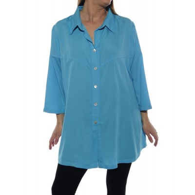 6X Solid FLAT RAYON Turquoise Uptown Blouse (exchange)