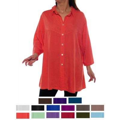 Solid CRINKLE RAYON or FLAT RAYON Uptown Blouse L-6X
