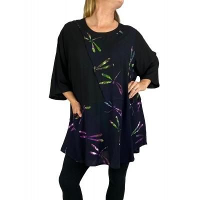 Women's Plus Size Artist Pocket Swing -Violet Dragonfly