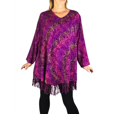 0X Violet Vine Santa Fe Fringe Swing Top Long Sleeve (exchange)